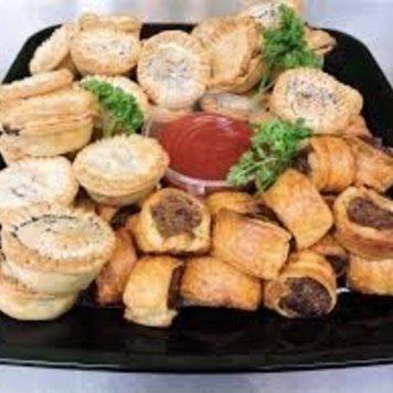 Mini pies + spinach filo + sausage rolls 20
