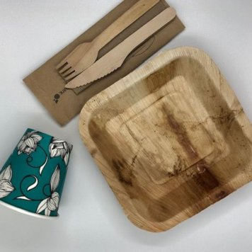Plate, cup, napkin + cutlery set